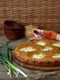 Torta salata con la ricotta ed il giovane aglio verde Fotografia Stock