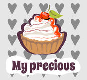 Torta squisita con la ciliegia Alimento dolce il mio prezioso illustrazione di stock