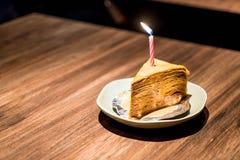 Torta tailandesa del crepé del té fotografía de archivo