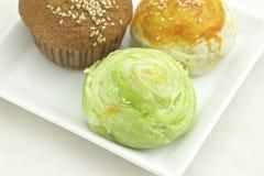 Torta taiwanesa del Mooncake y del plátano Fotos de archivo libres de regalías