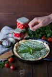 Torta verde del vegano con basilico, pomodori della formica di ricotta immagini stock libere da diritti