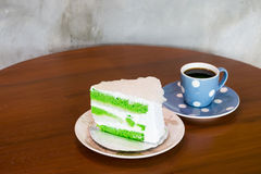 torta y café de coco Fotos de archivo libres de regalías