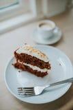 Torta y café de zanahoria Imagen de archivo