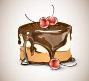 Torta y cerezas de chocolate Imagen de archivo