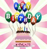 Torta y globos de cumpleaños Fotografía de archivo