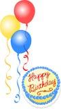 Torta y globos de cumpleaños ilustración del vector