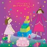 Torta y hada de la muchacha del regalo del feliz cumpleaños Foto de archivo