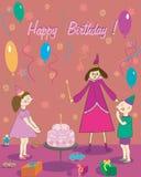 Torta y hada del muchacho de la muchacha del regalo del feliz cumpleaños Imagen de archivo libre de regalías