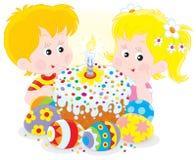 Torta y huevos de Pascua stock de ilustración