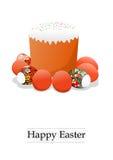 Torta y huevos de Pascua Foto de archivo libre de regalías