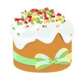 Torta y huevos tradicionales de Pascua Elemento del diseño aislado en blanco Ilustración del EPS 10 Imagenes de archivo