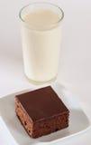 Torta y leche de chocolate imagen de archivo libre de regalías