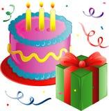 Torta y presente de cumpleaños libre illustration