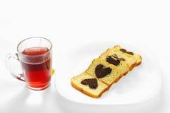 Torta y té Fotografía de archivo libre de regalías