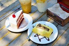 Torta y té Foto de archivo libre de regalías