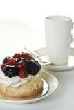 Torta y taza Fotografía de archivo libre de regalías