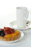 Torta y taza de la fruta Imágenes de archivo libres de regalías