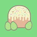 Torta y tres huevos en Pascua Foto de archivo libre de regalías