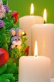 Torta y velas de la Navidad Fotos de archivo libres de regalías