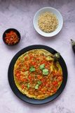 Tortang talong with giniling, eggplant omelet with ground pork, filipino food. stock image