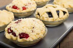 Tortas caseiros de cozimento do fruto fresco Imagens de Stock