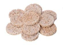Tortas de arroz orgánicas de Brown Foto de archivo libre de regalías