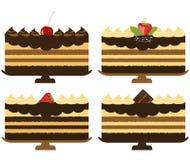 Tortas de chocolate stock de ilustración