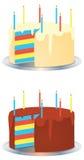 Tortas de la fiesta de cumpleaños del arco iris de la crema y del chocolate Fotos de archivo