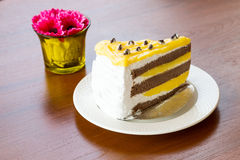 Tortas de la tarta de crema del plátano Fotos de archivo libres de regalías