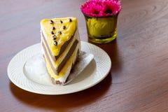 Tortas de la tarta de crema del plátano Imagen de archivo