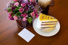 Tortas de la tarta de crema del plátano Imagen de archivo libre de regalías