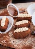 Tortas de las bolas del ron de la trufa de chocolate Fotos de archivo libres de regalías