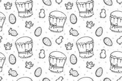 Tortas de Pascua, huevos y modelo inconsútil de los ángeles ilustración del vector