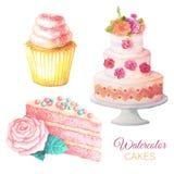 Tortas del dulce de la acuarela Imagen de archivo libre de regalías