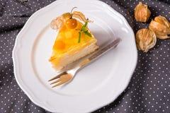 Tortas deliciosas con el Physalis, las manzanas frescas y la crema Fotos de archivo libres de regalías
