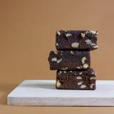 Tortas deliciosas del brownie del chocolate (#1) fotos de archivo