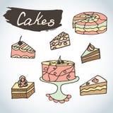 Tortas dibujadas mano del dulce fijadas Bosquejo de los elementos de la panadería Excelente para crear su propio diseño del menú Imágenes de archivo libres de regalías