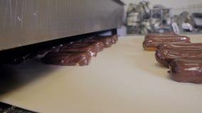 Tortas, Eclairs que cuecen la instalación de producción Banda transportadora con el chocolate que vierte en los eclairs almacen de metraje de vídeo