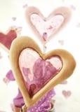Tortas en forma de corazón de la ventana Foto de archivo
