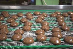 Tortas en la banda transportadora automática, proceso de la hornada en fábrica de la comida, cierre para arriba foto de archivo libre de regalías