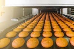 Tortas en la banda transportadora o línea automática, proceso de la hornada en fábrica culinaria de la confitería o planta Indust foto de archivo
