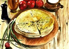Tortas lisas saborosos com enchimento das batatas e do queijo ilustração do vetor