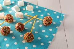 Tortas minúsculas hechas en casa - cakepops para el cumpleaños del ` s de los niños en un fondo de madera blanco Fotos de archivo