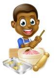 Tortas negras de la hornada del muchacho de la historieta Imagen de archivo