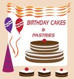 Tortas y pasteles de cumpleaños para la venta Imagen de archivo libre de regalías
