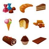 Tortas y sistema del icono del caramelo Imágenes de archivo libres de regalías