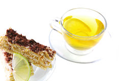 Tortas y té del limón Fotografía de archivo libre de regalías