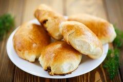 Torte casalinghe con cavolo ed i crauti Fotografia Stock