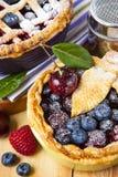 Torte casalinghe decorate della bacca della pasticceria dello shortcrust Fotografia Stock
