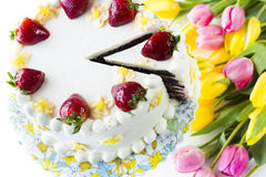 Torte de citron de fraise de chocolat Photographie stock libre de droits